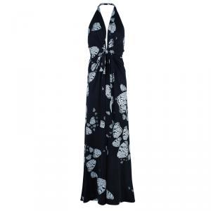 Issa Monochrome Butterfly Print Jersey Maxi Dress M