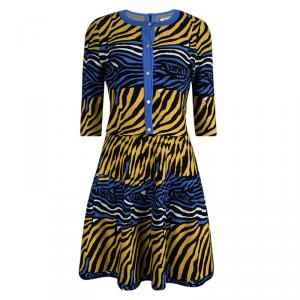 Issa Multicolor Animal Pattern Knit Flared Dress And Cardigan Set S