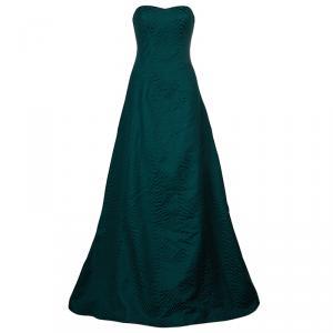 فستان جيسون وو FA'14 بلا حمالات جاكار أخضر M