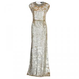 Jenny Packham Gold Sequin Embellished Sleeveless Gown M