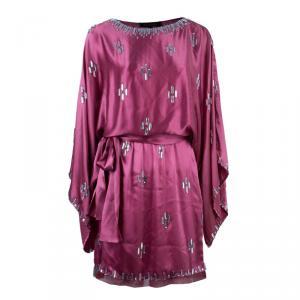 Jenny Packham Pink Silk Crystal Embellished Dress M