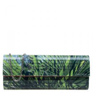 Jimmy Choo Palm Leaf Printed Acrylic Sweetie Clutch