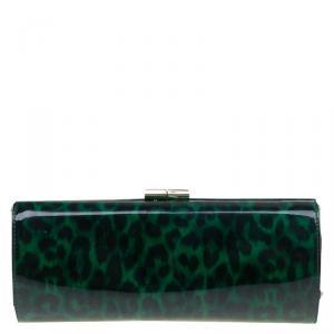 Jimmy Choo Green/Black Leopard Print Patent Leather Twill Tube Clutch