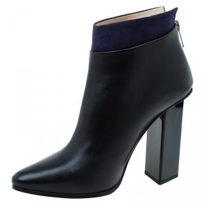 Jimmy Choo Black Leather and Blue Suede Legion Ankle Boots Size 36
