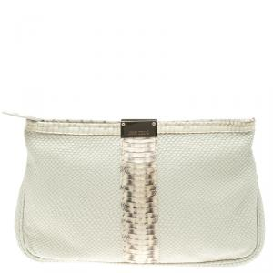 Jimmy Choo Off White Python Embossed Leather and Python Trim Zulu Clutch