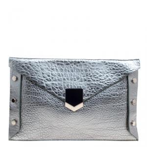 Jimmy Choo Metallic Green Leather Lockett Envelope Clutch