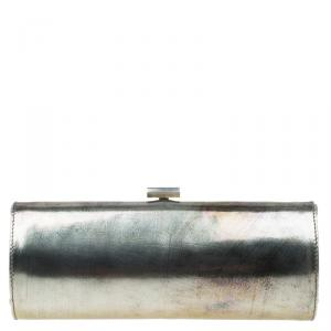 Jimmy Choo Metallic Silver Leather Twill Tube Clutch