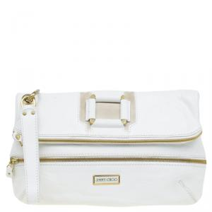 Jimmy Choo White Leather and Suede Large Mave Foldover Clutch