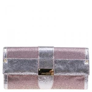 Jimmy Choo Metallic Silver/Pink Leather and Glitter Ubai Clutch