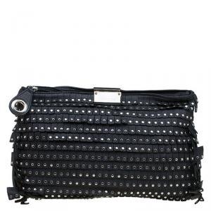 Jimmy Choo Black Leather Studded Zulu Clutch