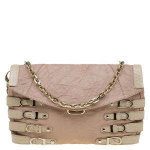 Jimmy Choo Beige Leather and Python Trim Brix Convertible Clutch