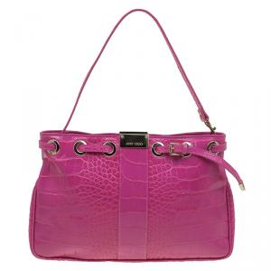 Jimmy Choo Pink Croc Embossed Leather Pochette