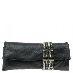Jimmy Choo Black Leather Chandra Clutch