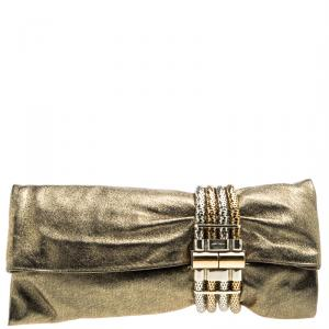 Jimmy Choo Gold Leather Chandra Clutch