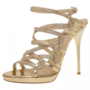 Jimmy Choo Gold Glitter Dart Strappy Sandals Size 38.5