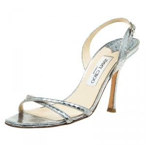 Jimmy Choo Metallic Silver Python Embossed Indie Strappy Sandals Size 38.5