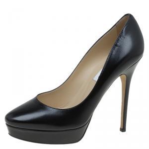 حذاء كعب عالي جيمي تشو إيروس جلد أسود نعل سميك مقاس 39