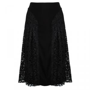 Joseph Black Pleated Lace Detail Courtney Skirt L