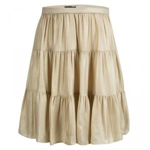 Joseph Gold Silk Tiered Petra Skirt S