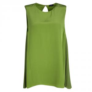 Joseph Green Plisse Side Panel Detail Sleeveless Top L