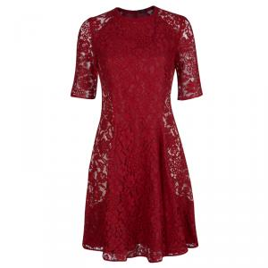Joseph Red Lace A-Line Dress  S