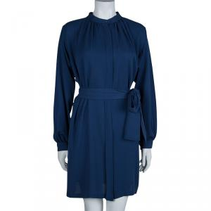 Joseph Blue Silk Mandarin Collar Long Sleeve Belted Shirt Dress S
