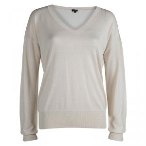 Joseph Cream Knit V-Neck Sweater L