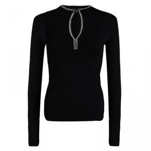 Joseph Black Embellished Long Sleeve Top S