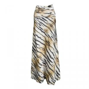 Just Cavalli Tiger Printed Satin Flared Godet Maxi Skirt L