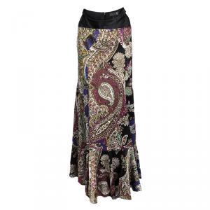 Just Cavalli Multicolor Printed Satin Ruffle Bottom Maxi Skirt M