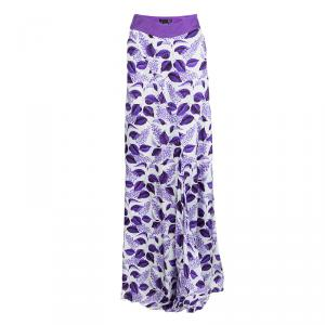 Just Cavalli Purple Leaf Printed Maxi Skirt L