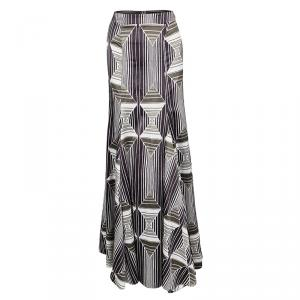 Just Cavalli Multicolor Printed Flared Maxi Skirt M