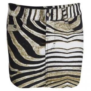Just Cavalli Animal Printed Denim Mini Skirt  S