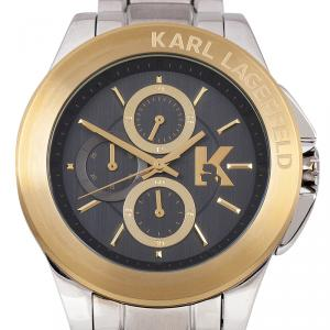 Karl Lagerfeld Black Gold-Plated Stainless Steel KL1409 Unisex Wristwatch 44MM