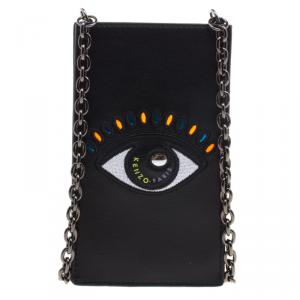 Kenzo Black Leather Phone Bag