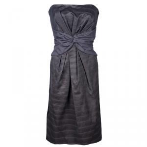 Kenzo Grey Strapless Dress S