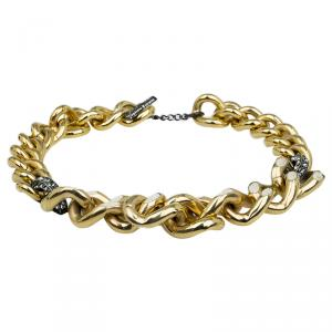 Lanvin Embellished Curb Gold Tone Chain Necklace