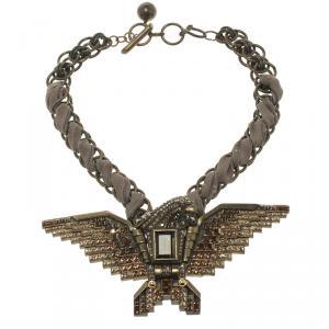 Lanvin Brown Crystal Embellished Eagle Gold Tone & Fabric Necklace