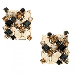 Lanvin 'Chain Lumiere' Crystal honeycomb Gold Tone Stud Earrings