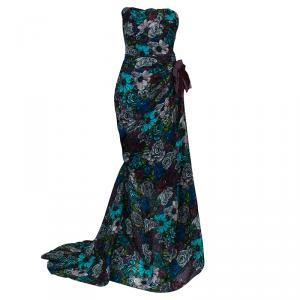 Lanvin Multicolor Floral Print Gown L