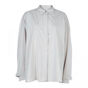 Lanvin Pale Grey Long Sleeve Button Down Oversized Shirt M