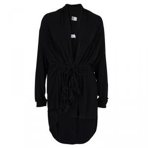 Lanvin Black Knit Tassel Waist Tie Detail Wrap Blouse M