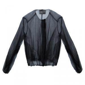 Lanvin Black Sheer Organza Gathered Long Sleeve Blouse M