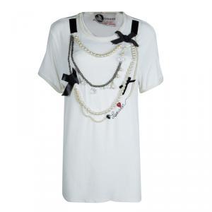 Lanvin White Jersey Embellished Necklace Detail T-Shirt M