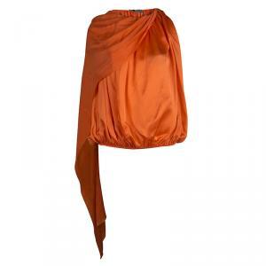 Lanvin Orange Silk Draped Sleeveless Blouse L