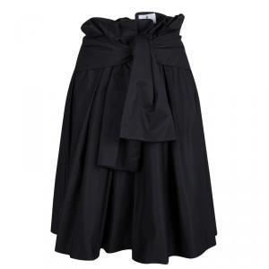 Lanvin En Blue Black Pleat Detail Skirt M
