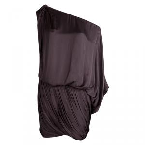 Lanvin Brown Draped Asymmetric Sleeve Drop Waist Dress S
