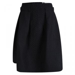 Lanvin Black Textured Box Pleated Skirt M