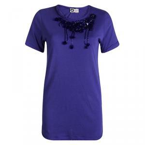 Lanvin Blue Knit Sequin Embellished Chiffon Trim Top S