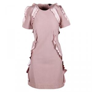 Lanvin Dusky Pink Ruffle Trim Dress S